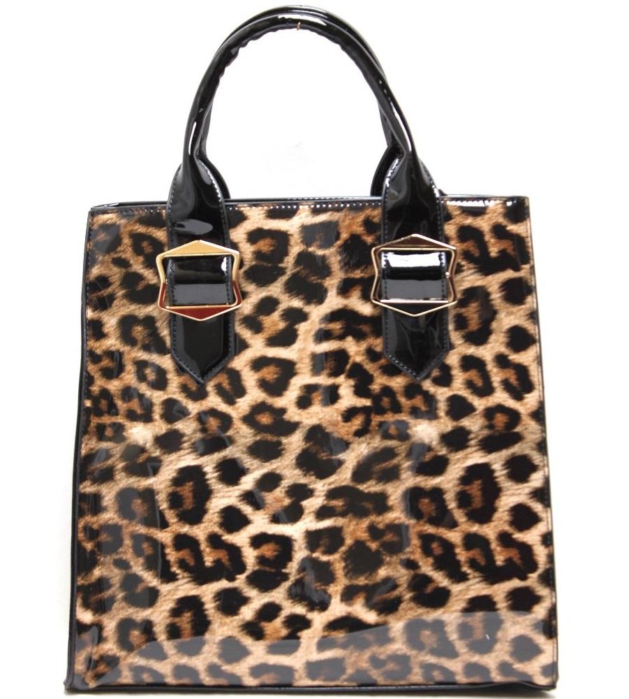 OS107 Brown Fashion Handbag With leopard Print