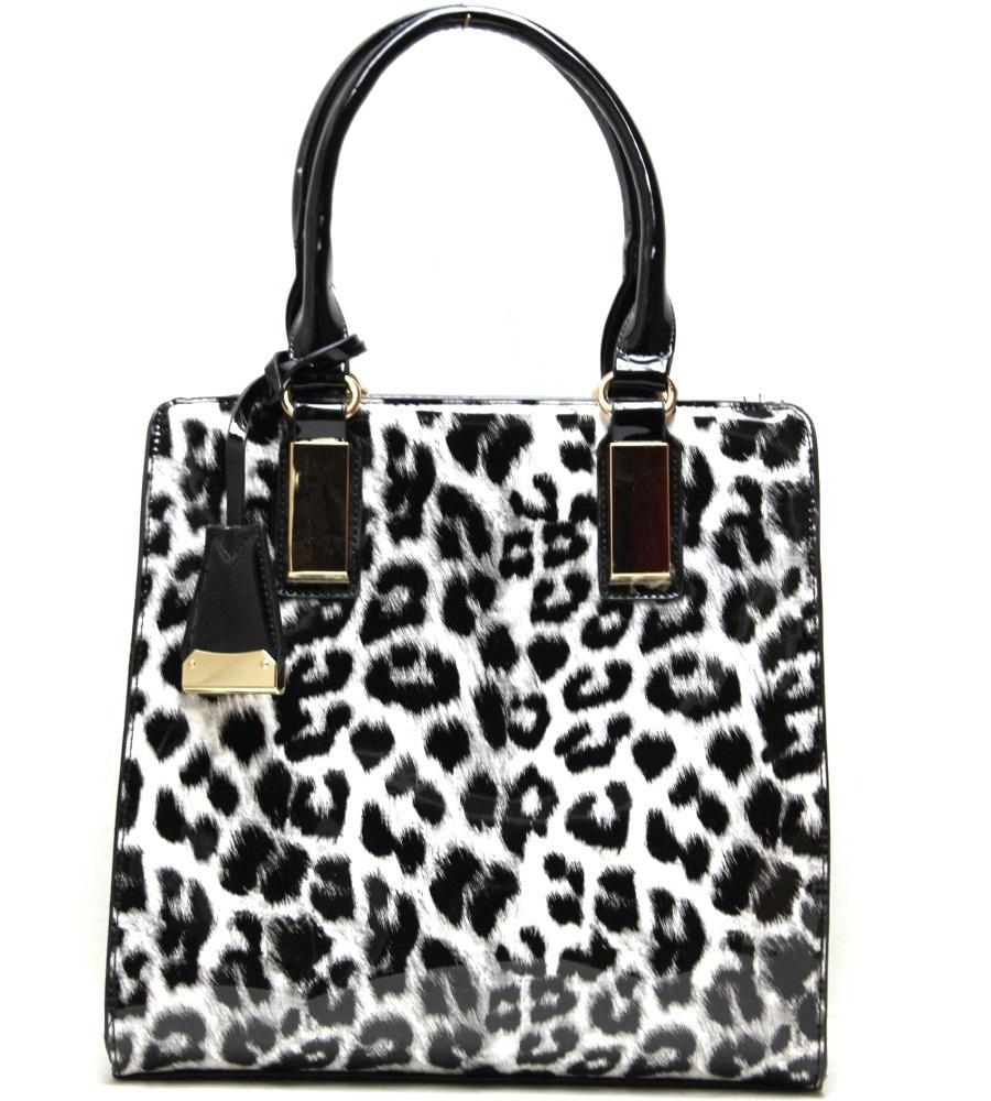 OS108 Black Fashion Handbag With leopard Print