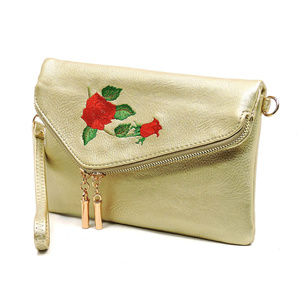 Embroidered Flower  Crossbody Clutch