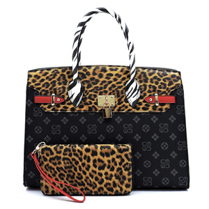 Leopard Zebra Monogram Pad-lock 2-in-1 Satchel
