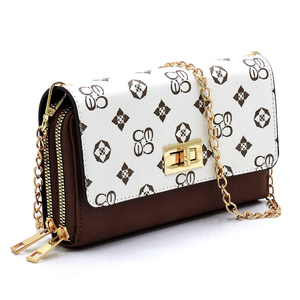 Monogrammed Twist Lock Double Zip Around Crossbody Wallet