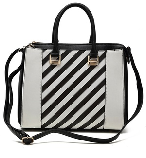 Center Stripes Fashion Handbag