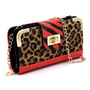 Leopard Zebra Colorblock Turn Lock Crossbody Wallet