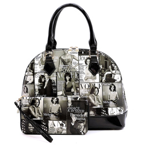 Magazine Cover Collage 2-in-1 Dome Satchel