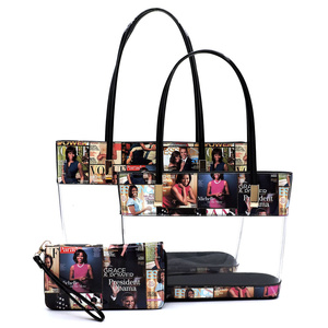 Magazine Cover Collage See Thru 3-in-1 Tote Set