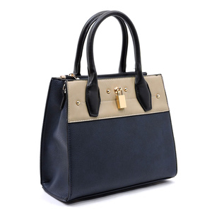 Colorblock Padlock Box Satchel
